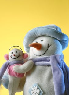Free Snowman With His Little Baby Stock Photos - 7902183