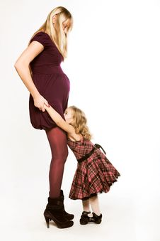 Free Pregnant Woman With Little Daughter Stock Photography - 7902922