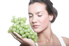 Girl With Grape Royalty Free Stock Photography