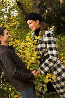 Free Young Couple In Autumn Park Stock Photo - 7903130