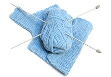 Free Knitting Needles, Yarn  And Knitting Cloth. Royalty Free Stock Photos - 7905428