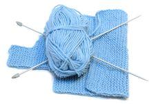 Free Knitting Needles, Yarn  And Knitting Cloth. Stock Photos - 7905433