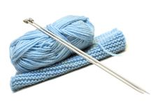 Free Knitting Needles, Yarn  And Knitting Cloth. Royalty Free Stock Photos - 7905458
