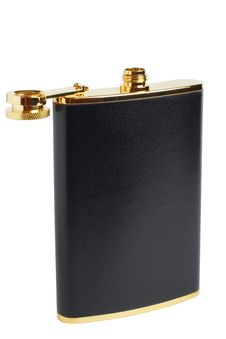 Free Opened Black And Gilt Hipflask For Alcoholic Drink Stock Photos - 7905933