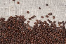 Free Coffee Beans On Burlap Stock Photography - 7906072