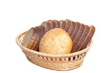 Free Bread And Bun In The Braided Basket. Royalty Free Stock Image - 7906226