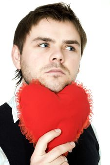 Free Man With Red Heart Royalty Free Stock Image - 7906836