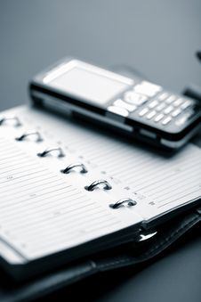 Free Organizer And Mobile Phone Stock Image - 7906941