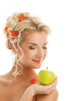 Woman With Ripe Green Apple Stock Photos