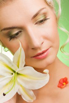 Free Woman With Lily Flower Stock Photos - 7907333