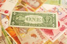 Free One Dollar Over Collection Of Foreign Currencies Royalty Free Stock Photo - 7907735