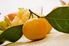 Free Two Mandarins With Leaves Royalty Free Stock Photo - 7908175
