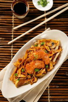 Free Deep Fried Scampi With Asian Noodles And Green Pea Stock Photos - 7908503