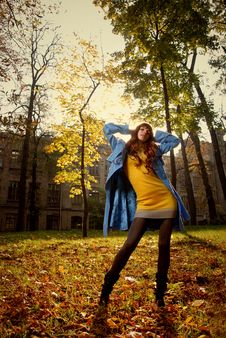 Woman In Blue Jaket Posing In Autumn Park Stock Photography