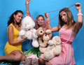 Free Three Female Friends With Teddy Bears And Beads Royalty Free Stock Photo - 7913805