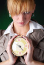 Free Woman With Alarm Clock Stock Photos - 7915083