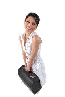 Free Smiling Young Woman With Case Stock Photos - 7910393