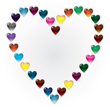 Free Set Of Glass Buttons Hearts Royalty Free Stock Images - 7910429