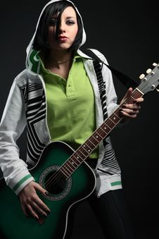 Young Emo Girl With Guitar Stock Photography
