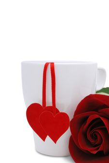 Free Cup With Two Red Hearts And Flower Stock Photo - 7910750