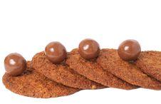 Macro Shot Of Cookies And Chocolates Royalty Free Stock Photo
