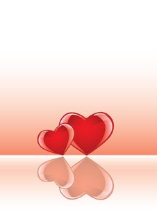 Glossy Hearts With Reflections Stock Image