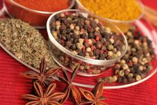 Spices In Small Glass Bowl Royalty Free Stock Photography