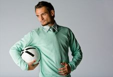 Free Man Holding Soccer Ball Royalty Free Stock Photography - 7911667