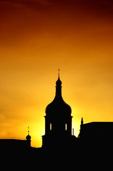 Silhouette Of Church Royalty Free Stock Images