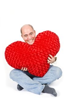 Free Latin Man With A Red Heart Stock Image - 7911821