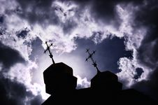 Free Silhouette Of Church With Crosses Stock Photo - 7911840