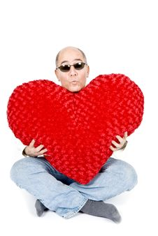 Free Latin Man With A Red Heart Stock Photography - 7911852