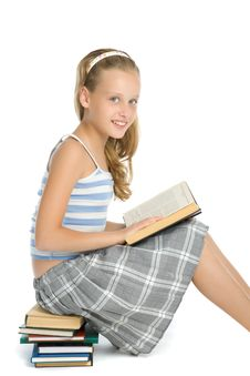 Teenager Girl Reading Book On Floor Royalty Free Stock Photo