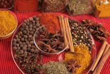 Spices On Glass Plate Royalty Free Stock Images