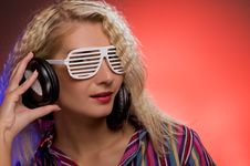 Woman With Shutter Glasses Royalty Free Stock Image