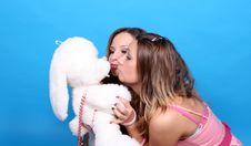 Free Two Girls Kissing A Plush Rabbit Royalty Free Stock Image - 7913986