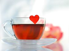 Cup Of Tea With Heart Stock Photos