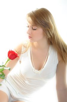 Free Woman With Rose Stock Image - 7914731