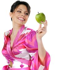 Free Woman Holding Green Apple Royalty Free Stock Image - 7914936