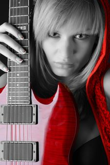 Free Woman With Electric Guitar Stock Images - 7915174