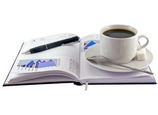 Coffee Cup, Pen, Standing On  Personal Organizer. Royalty Free Stock Photos