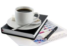 Free Coffee, Standing On Organizer, And  Diagrams. Stock Photography - 7915222
