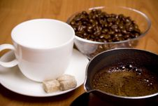 Cup, Coffee, Sugar And Beans In Glass Bowl Stock Photos