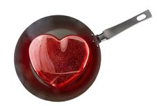 Free Frying Pan With The Big Red Heart. Fried Heart Royalty Free Stock Images - 7915629