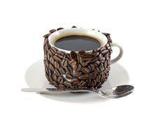 Free The Cup Of Coffee,original Decorated Coffee Beans. Royalty Free Stock Photography - 7916217