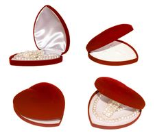 Heart Shaped Red Box Set Royalty Free Stock Images