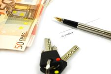 Free Bank Notes, Keys And A Pen Royalty Free Stock Photos - 7916778