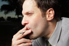 Free Man Smoking A Cigarette Royalty Free Stock Image - 7916956