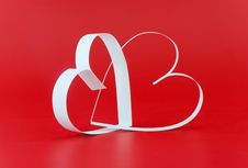 Free Two White Hearts,on Red Background. Royalty Free Stock Images - 7917219