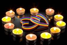 Free Small Light Candles,gay Hearts, On Black. Royalty Free Stock Image - 7917236